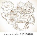 vintage tea background, hand drawn set for breakfast, vector - stock vector