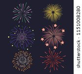 Set of Firework brusting with colorful sparkling Vector illustration design