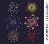 Set of Firework brusting with colorful sparkling Vector illustration design