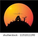 haunted house  black silhouette ...   Shutterstock .eps vector #1151011190