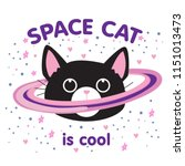 cute cat in space print.... | Shutterstock .eps vector #1151013473