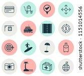 tourism icons set with surfing  ... | Shutterstock . vector #1151014556
