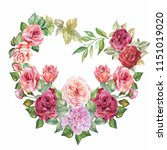 flowers frame with watercolor... | Shutterstock . vector #1151019020