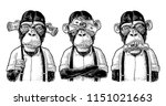 three wise monkeys with money... | Shutterstock .eps vector #1151021663