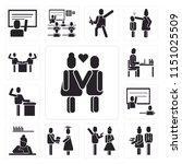 set of 13 simple editable icons ... | Shutterstock .eps vector #1151025509