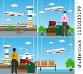 set of airport image with... | Shutterstock .eps vector #1151035199