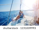 boy with his mother on board of ... | Shutterstock . vector #1151039993