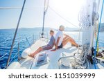 boy with his sister on board of ... | Shutterstock . vector #1151039999