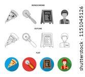 a pizza cutter  a slice  a menu ... | Shutterstock .eps vector #1151045126