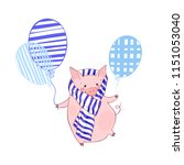 cute piggy in a scarf with... | Shutterstock .eps vector #1151053040