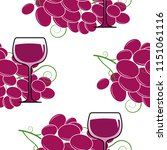 glass of red wine and bunch of... | Shutterstock .eps vector #1151061116