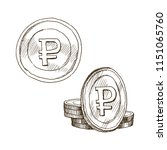 doodle icons of coins on the... | Shutterstock .eps vector #1151065760
