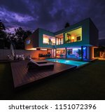 modern villa with colored led... | Shutterstock . vector #1151072396