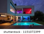 modern villa with colored led... | Shutterstock . vector #1151072399