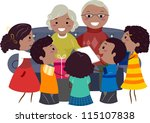 illustration of kids giving... | Shutterstock .eps vector #115107838