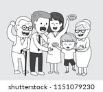 happy extended family. happy... | Shutterstock .eps vector #1151079230