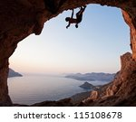 silhouette of a rock climber at ... | Shutterstock . vector #115108678