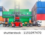 forklift handling container box ... | Shutterstock . vector #1151097470