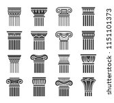 ancient columns icon in black... | Shutterstock .eps vector #1151101373