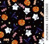 halloween watercolor pattern on ... | Shutterstock . vector #1151102633