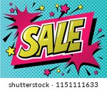 sale poster in pop art style.... | Shutterstock .eps vector #1151111633
