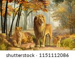 Stock photo natural lion painting 1151112086