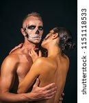 halloween couple in love of man ... | Shutterstock . vector #1151118533
