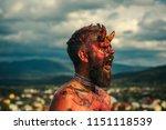 halloween satan with red blood... | Shutterstock . vector #1151118539