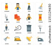 set of 16 icons such as iron ...