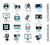 set of 16 icons such as yen ...