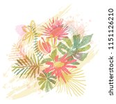 tropical flower bouquet  hand... | Shutterstock .eps vector #1151126210