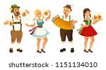People in traditional German, Bavarian costume holding beer mugs, Oktoberfest, cartoon vector illustration isolated on white background. Full length portrait of German people in traditional costumes.
