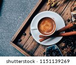 close up hot coffee on wooden... | Shutterstock . vector #1151139269