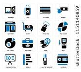 set of 16 icons such as safebox ...