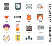 set of 16 icons such as mixer ...