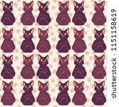 cat faces vector pattern  hand... | Shutterstock .eps vector #1151158619