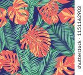 summer exotic floral tropical... | Shutterstock .eps vector #1151162903