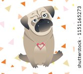 little cute pug. vector... | Shutterstock .eps vector #1151165273