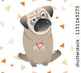 little cute pug. vector... | Shutterstock .eps vector #1151165273