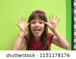 girl portrait  girl is making... | Shutterstock . vector #1151178176