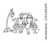 couple on a bench. hand drawing ... | Shutterstock .eps vector #1151183249