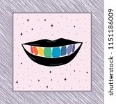 hand drawn rainbow teeth in... | Shutterstock .eps vector #1151186009