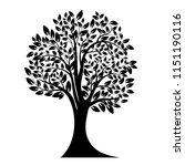 black tree silhouette. isolated ... | Shutterstock .eps vector #1151190116