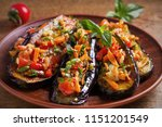 eggplants with tomatoes ... | Shutterstock . vector #1151201549