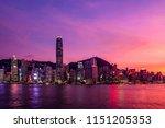 twilight of victoria harbor of...   Shutterstock . vector #1151205353