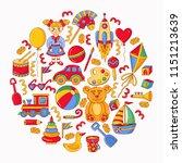 children toys cartoon colorful... | Shutterstock .eps vector #1151213639