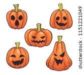 set of halloween pumpkins face... | Shutterstock .eps vector #1151221049