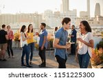 friends gathered on rooftop... | Shutterstock . vector #1151225300