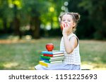 happy adorable little kid girl... | Shutterstock . vector #1151225693
