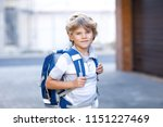 happy little kid boy with... | Shutterstock . vector #1151227469